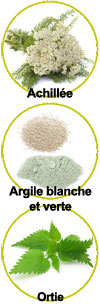 Actifs Achillée millefeuille, argiles et extrait d'ortie