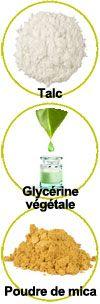 Actifs Talc, glycérine végétale et poudre de mica