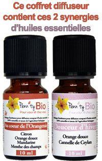 2 synergies d'huiles essentielles dans ce coffret diffuseur
