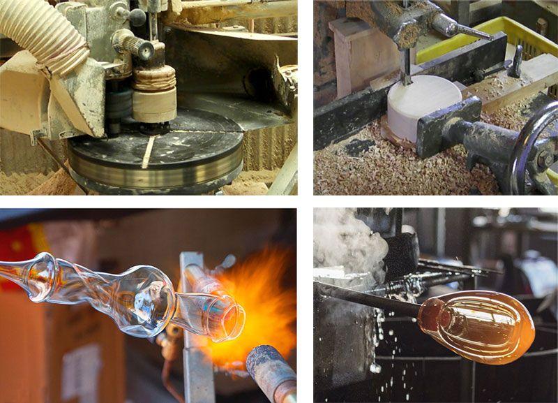 Fabrication de verreries artisanales et de socle pompe en bois